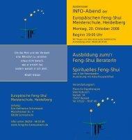 Info-Abend der Europäischen Feng-Shui Meisterschule, Heidelberg