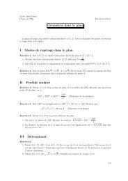 Géométrie dans le plan I Modes de repérage dans le plan II Produit ...