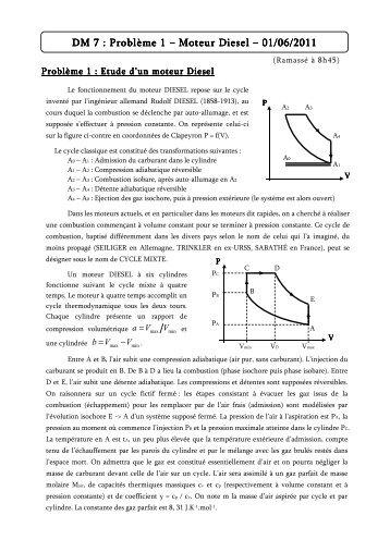 DM 7 : Problème : Problème : Problème 1 – Moteur Diesel Moteur ...