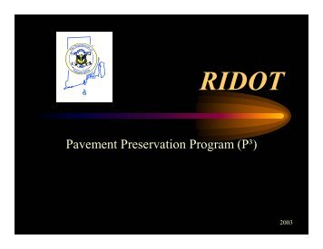 Pavement Preservation Program (P³) - The National Center for ...