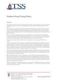 Student Drug Testing Policy - The Southport School