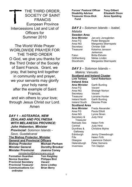 Pastoral Officer Tony Gilbert - the TSSF European Province Website