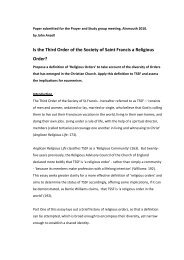 Is TSSF a religious order? - the TSSF European Province Website