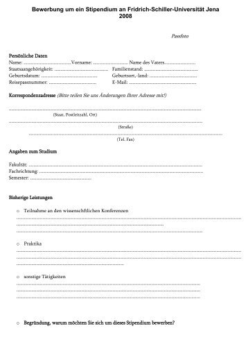 Bewerbung um ein Stipendium an Fridrich-Schiller-Universität Jena