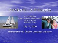 MathNerds - Mathematics for English Language Learners Project