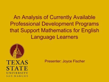 Professional Development - Mathematics for English Language ...