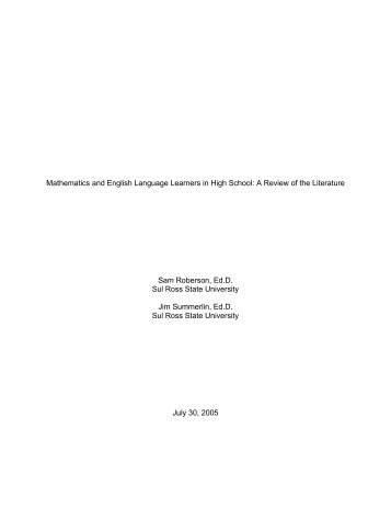 Mathematics and English Language Learners in High School: A ...