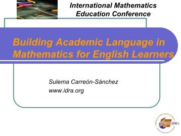 Building Academic Language in Mathematics for English Learners