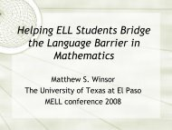 Helping ELL Students Bridge the Language Barrier in Mathematics