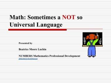 Math: Sometimes a NOT so Universal Language - Mathematics for ...