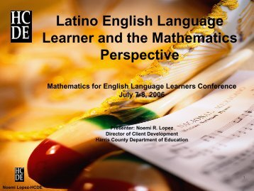 Latino English Language Learner and the Mathematics Perspective