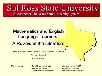 MELL Literature Review - Mathematics for English Language ...