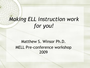 Making ELL instruction Work for You - Mathematics for English ...