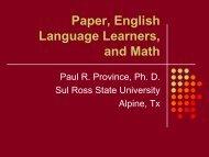 Paper, ELLs, and Math! - Mathematics for English Language ...