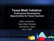 Texas Math Initiative: - Mathematics for English Language Learners ...