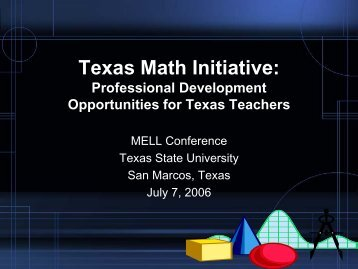 Texas Math Initiative: - Mathematics for English Language Learners ...