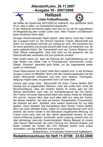 Halbzeit - TSV 05 Allendorf-Lahn eV