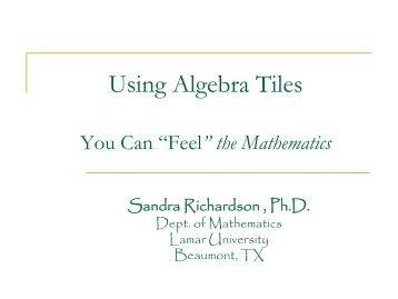 Let's Do Algebra Tiles