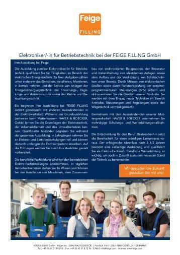 Elektroniker/-in für Betriebstechnik bei der FEIGE FILLING Gmbh