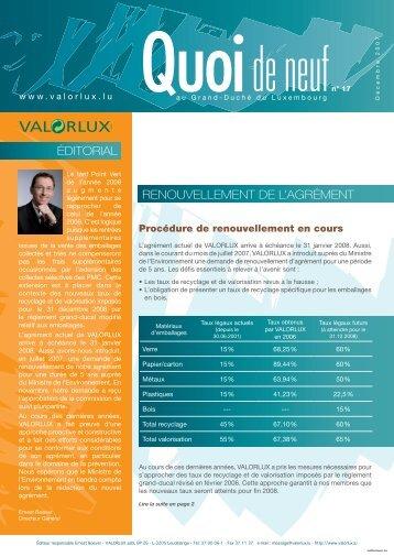 ÉDITORIAL RENOUVELLEMENT DE L'AGRÉMENT - valorlux.lu