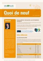 Éditorial Infos adhérents - valorlux.lu
