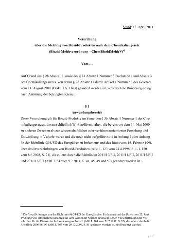 Verordnung über die Meldung von Biozid-Produkten nach dem ...