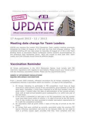 17 August 2012 - 12 / 2012 Meeting date change for Team ... - FEI