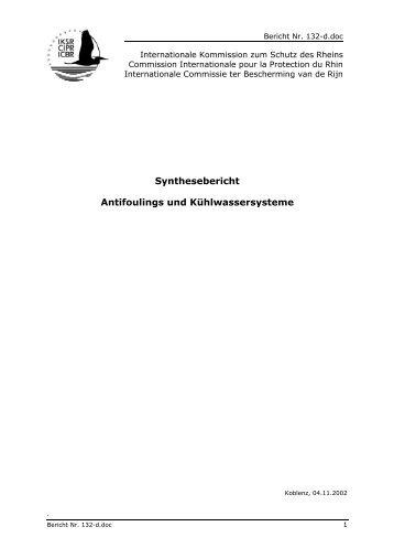 Synthesebericht Antifoulings und Kühlwassersysteme