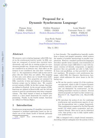 Proposal for a Dynamic Synchronous Language