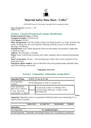 Material Safety Data Sheet - Coffee - CoffeeSnobs