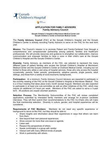 Print an application for family advisors - Atlantic Health System