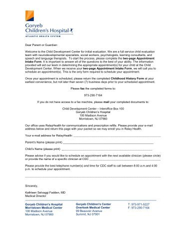 Packet for patients five years of age and older - Atlantic Health System