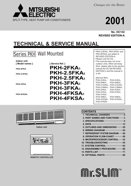 technical & service manual wall     - mitsubishi electric