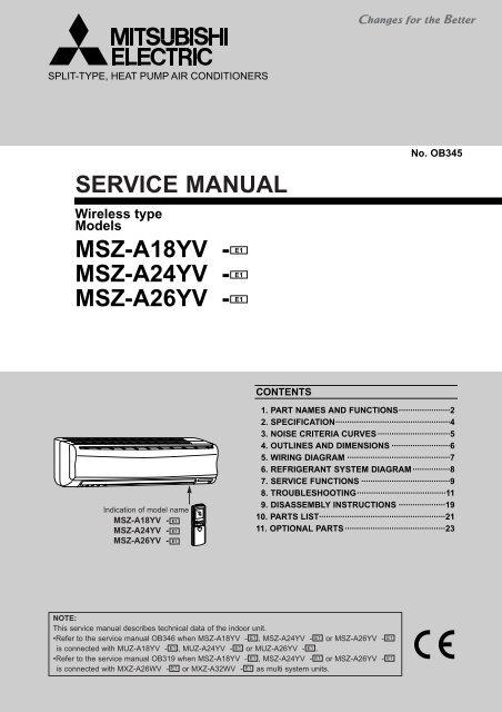 Amazing Service Manual Msz A18Yv Msz A24Yv Mitsubishi Electric Wiring 101 Akebretraxxcnl