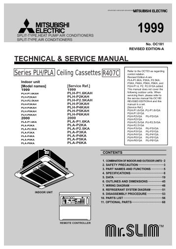 technical service manual wall mitsubishi electric rh yumpu com