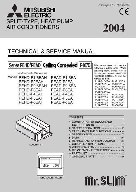 Series Pehd Pead R407c Mitsubishi Electric