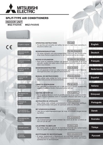 SPLIT-TYPE AIR CONDITIONERS - Mitsubishi Electric