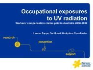 Occupation exposures to UV radiation - Cancer Council Western ...