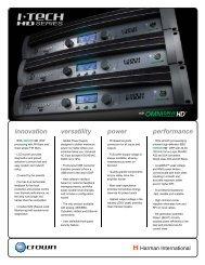 I-Tech HD Series Datasheet - Crown Audio, Inc.