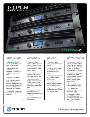 I-Tech HD Series Datasheet - Crown Audio, Inc.