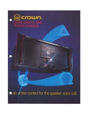 Delta Omega 2000 Brochure - Crown Audio, Inc.