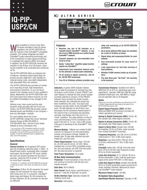 Crown BUS Ultra Series IQ PIP-USP2