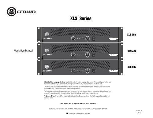 XLS Series Operation Manual - Crown Audio, Inc
