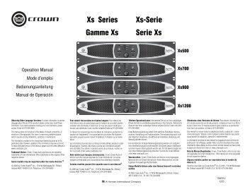 Xs Series Gamme Xs Xs-Serie Serie Xs - Crown Audio, Inc.
