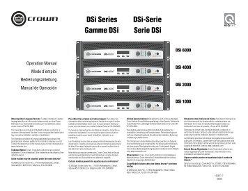 DSi Series Gamme DSi DSi-Serie Serie DSi - Crown Audio, Inc.