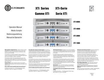 XTi Series Gamme XTi XTi-Serie Serie XTi - Crown Audio, Inc.