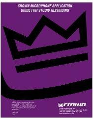 Studio Recording Application Guide - Crown Audio, Inc.