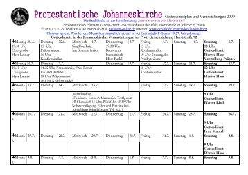 Gottesdienstplan und Veranstaltungen 2009
