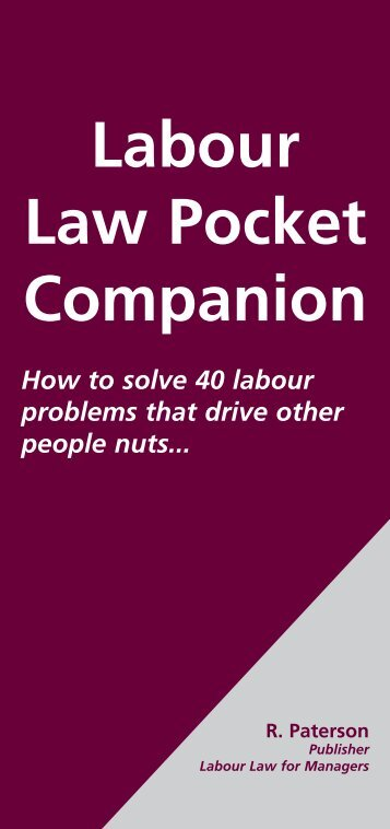 Labour Law Pocket Companion - Fleet Street Publications
