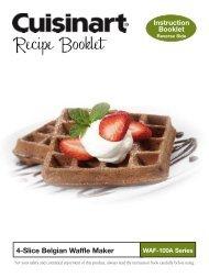 WAF-100A - Belgian Waffle Maker - Recipe Booklet - Cuisinart